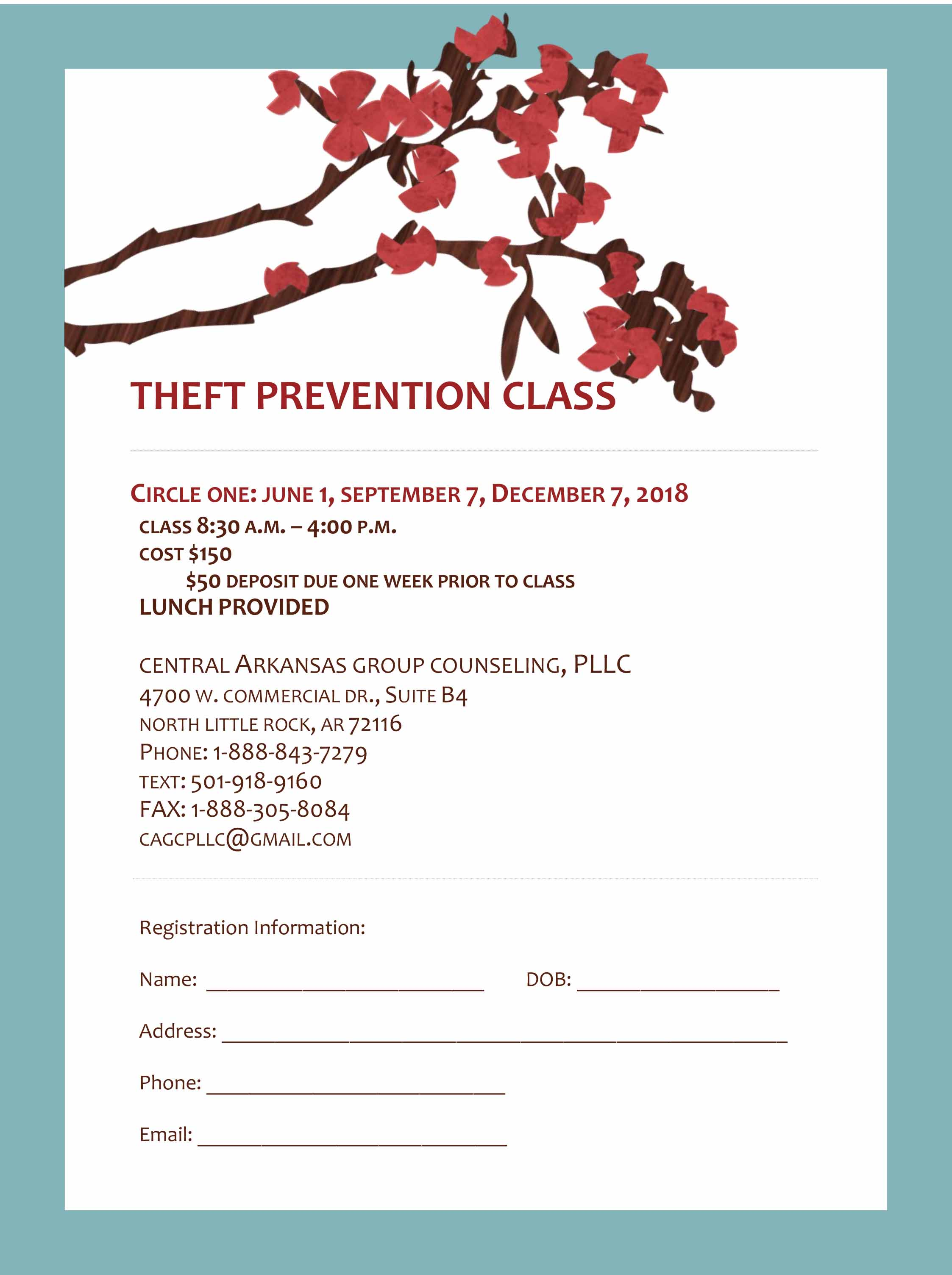 Theft prevention class Registration 2018